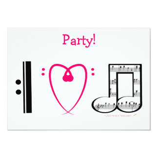 I Love Music (I heart notes) Pink Heart Party 5x7 Paper Invitation Card