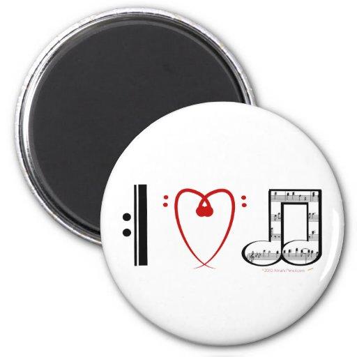 I Love Music (I heart notes) Refrigerator Magnets