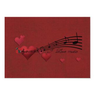 I Love music 5x7 Paper Invitation Card