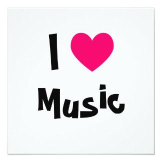 I Love Music 5.25x5.25 Square Paper Invitation Card