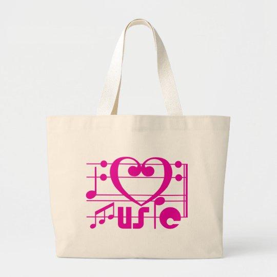 I LOVE MUSIC LARGE TOTE BAG