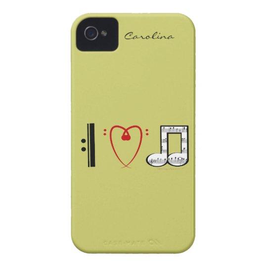 I Love Music Music Lovers Custom Name Skin iPhone 4 Case-Mate Case