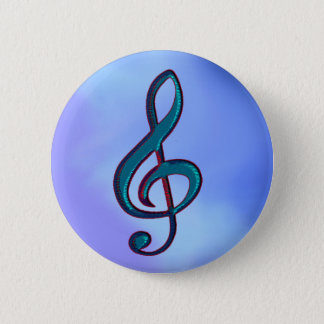I love music / musical note on blue pinback button