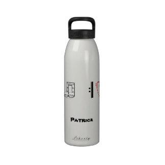 I Love Music Musical Symbols Custom Name Water Reusable Water Bottle
