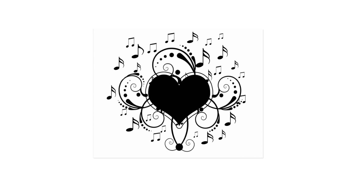 I Love Music Notes Heart Black And White Zazzle Com