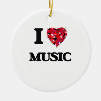I Love Music Double-Sided Ceramic Round Christmas Ornament