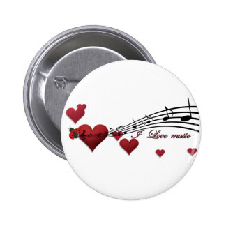 I Love music Pinback Buttons