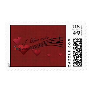 I Love music Postage Stamps