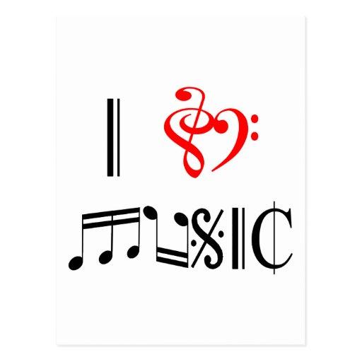 I Love Music Post Card