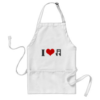 I love music. Red heart design Adult Apron