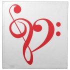 I love music, red heart with music notes cloth napkin