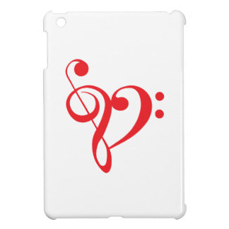 I love music red heart with music notes iPad mini cases
