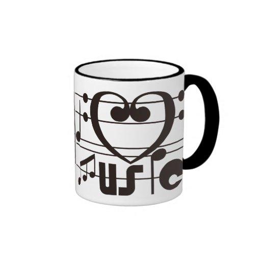 I LOVE MUSIC RINGER COFFEE MUG