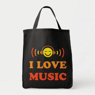 I love music smiley face with headphones bag