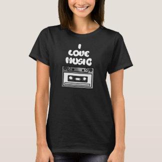 I Love Music Tape Cassette Digital Art Graphics T-Shirt