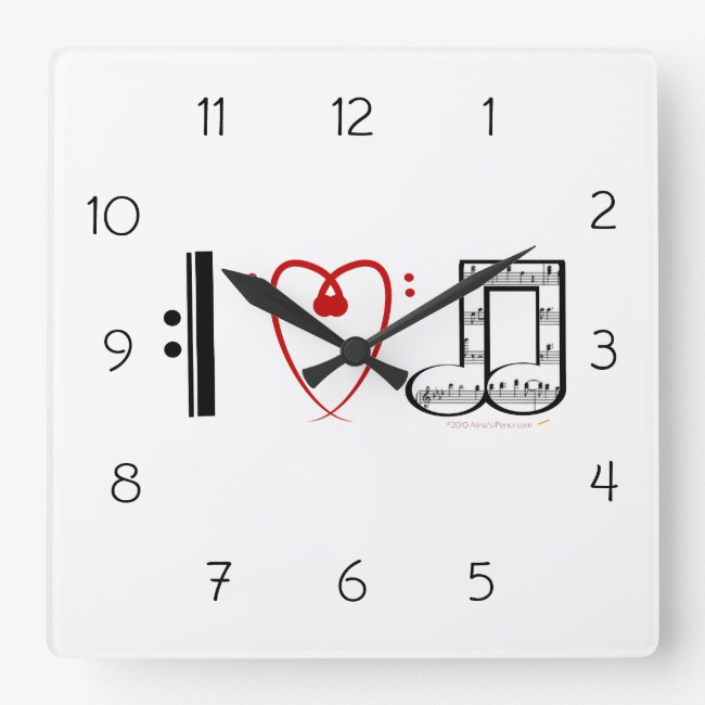 I Love Music Wall Clock Gift for Music Lovers