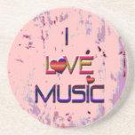 I Love Music with Hearts Coaster