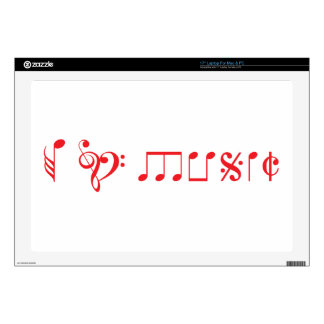 I love music, written with music notes laptop skin