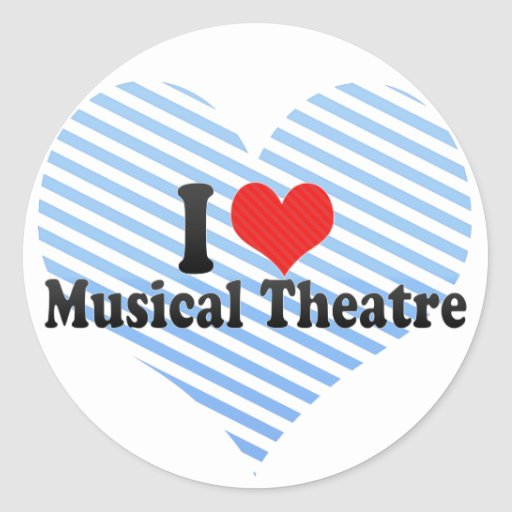 I Love Musical Theatre Classic Round Sticker