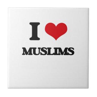 I Love Muslims Small Square Tile