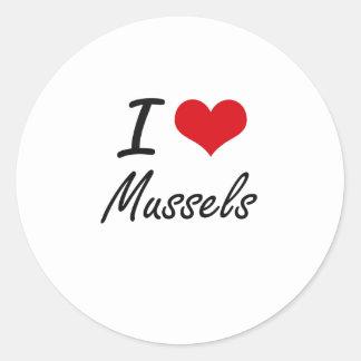 I Love Mussels artistic design Classic Round Sticker