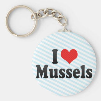 I Love Mussels Keychain