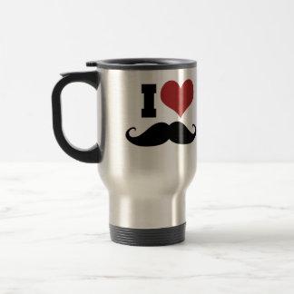 I Love Mustache 15 Oz Stainless Steel Travel Mug