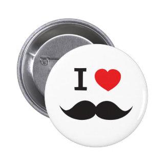 I Love Mustache 2 Inch Round Button