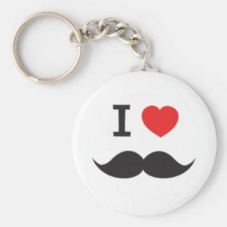 I Love Mustache Basic Round Button Keychain
