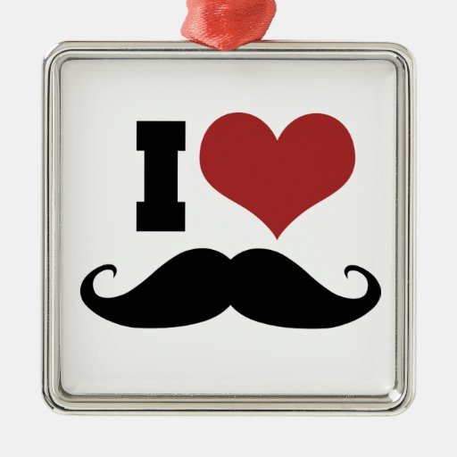 I Love Mustache Christmas Ornaments