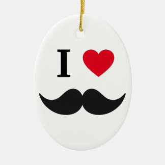 I love mustache design with red heart ceramic ornament