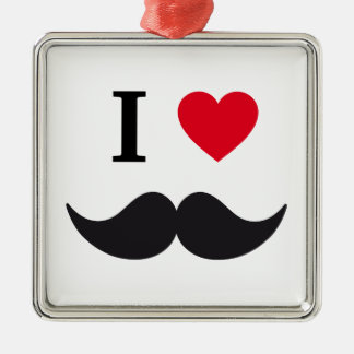 I love mustache design with red heart metal ornament
