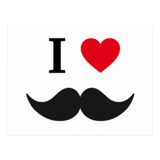 I love mustache design with red heart postcard