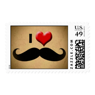 I Love Mustache, Funny Moustache facial hair Stamp