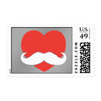 I love Mustache Heart Postage Stamp