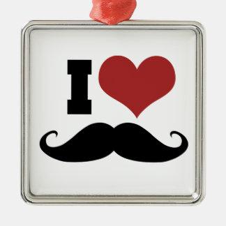 I Love Mustache Metal Ornament