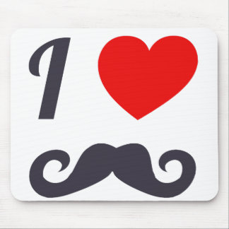 I Love Mustache Mouse Pad