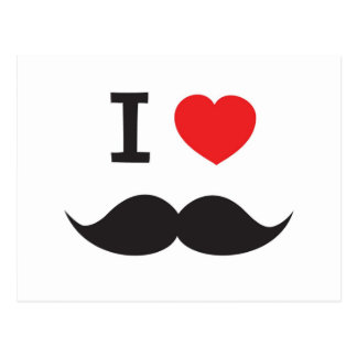 I Love Mustache Post Cards