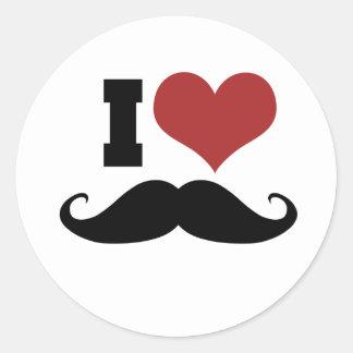 I Love Mustache Round Sticker
