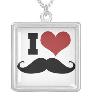 I Love Mustache Square Pendant Necklace