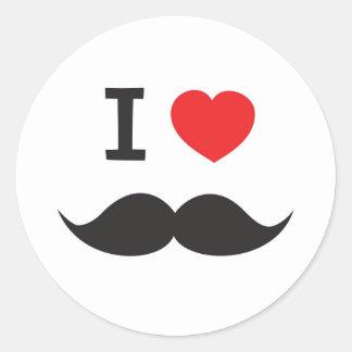 I Love Mustache Round Stickers