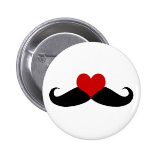 I love Mustaches Black and Red Button