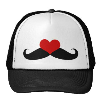 I love Mustaches Black and Red Trucker Hat