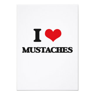 """I Love Mustaches 5"""" X 7"""" Invitation Card"""