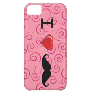 I Love Mustaches Pink Swirl Iphone Case