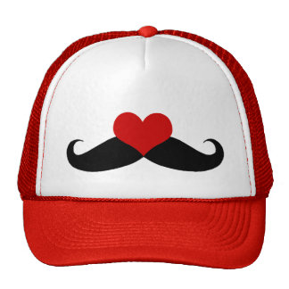 I love Mustaches Red and White Trucker Hat