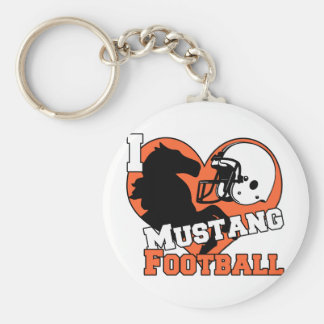 I love Mustang Football Basic Round Button Keychain