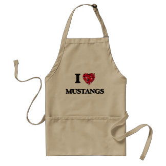 I Love Mustangs Adult Apron