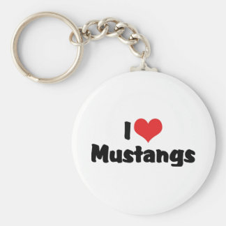 I Love Mustangs Basic Round Button Keychain
