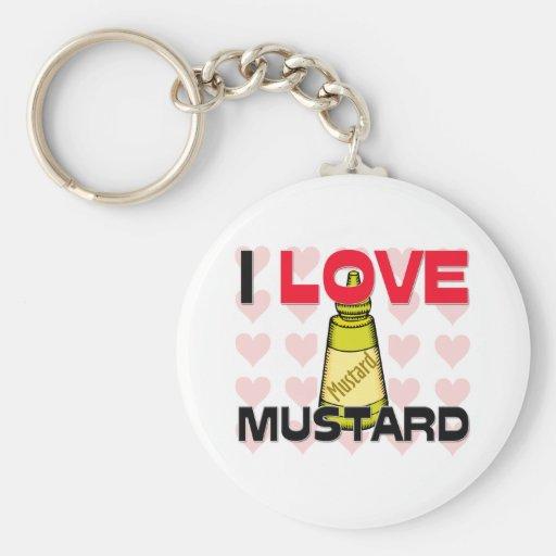 I Love Mustard Basic Round Button Keychain